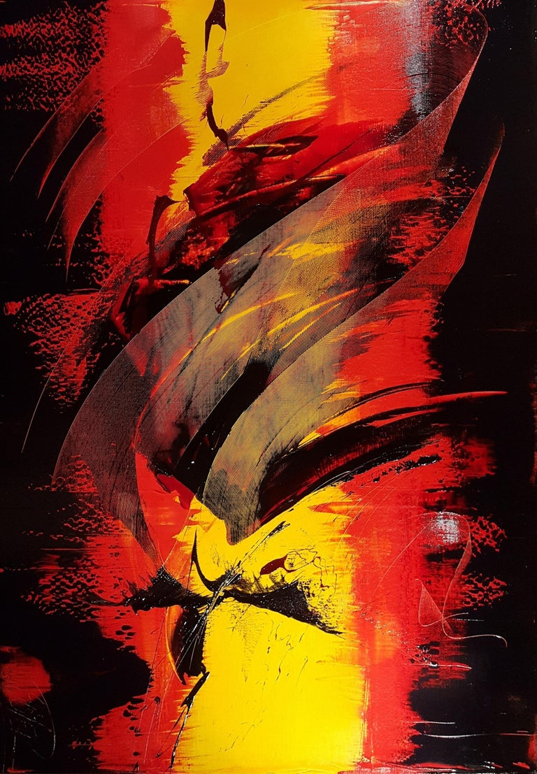 Large Black on Red and Yellow Lyrical Abstraction, Oil Painting, Untitled 1