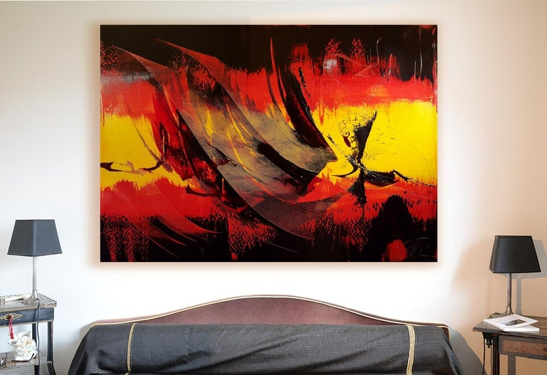 Large Black on Red and Yellow Lyrical Abstraction, Oil Painting, Untitled 3