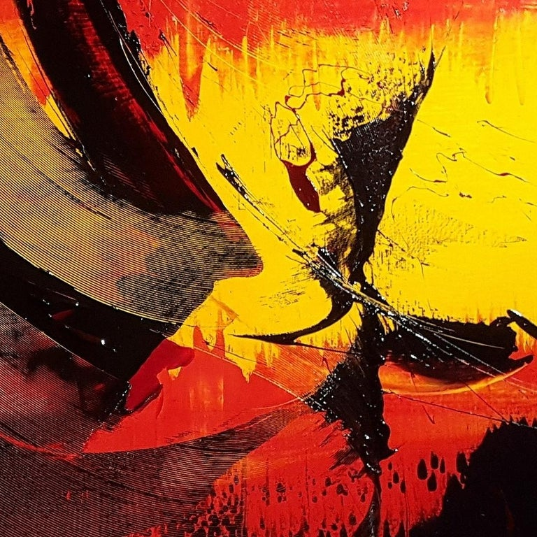 Large Black on Red and Yellow Lyrical Abstraction, Oil Painting, Untitled 4