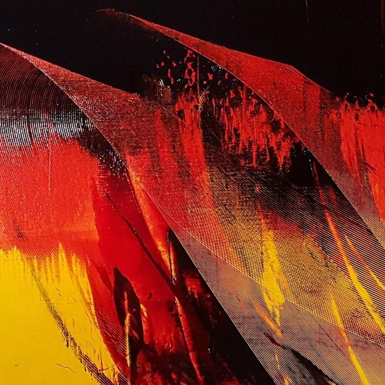 Large Black on Red and Yellow Lyrical Abstraction, Oil Painting, Untitled 5
