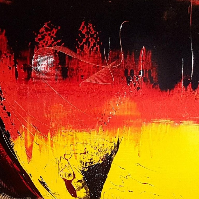 Large Black on Red and Yellow Lyrical Abstraction, Oil Painting, Untitled 7