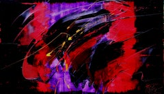 Yellow, Red and Purple on Dark Background Large Abstract Oil Painting, Untitled