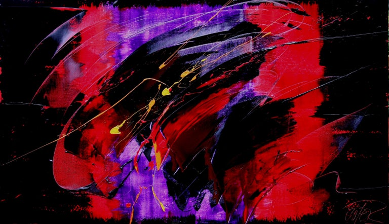 Yellow, Red and Purple on Dark Background Large Abstract Oil Painting, Untitled 1
