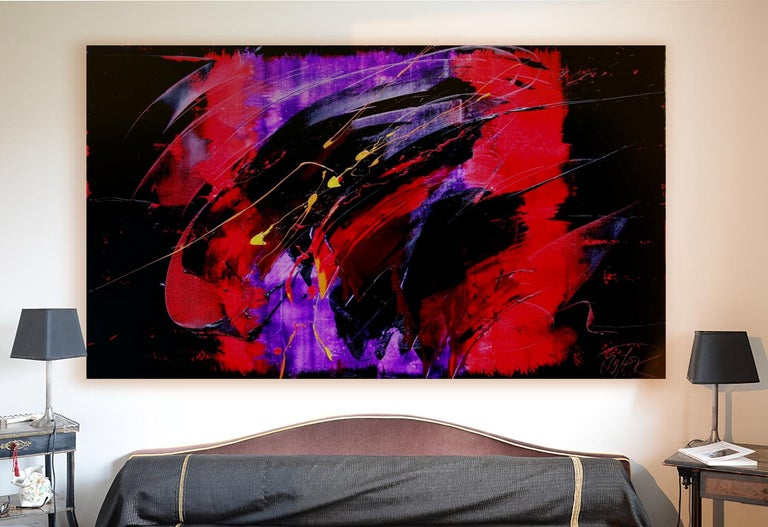 Yellow, Red and Purple on Dark Background Large Abstract Oil Painting, Untitled 2