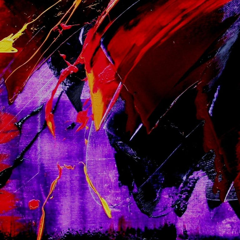 Yellow, Red and Purple on Dark Background Large Abstract Oil Painting, Untitled 5