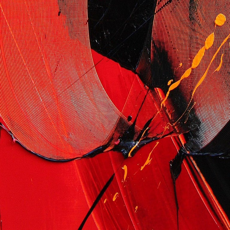 Yellow, Black and Red Lyrical Abstraction Oil Painting, Untitled 4