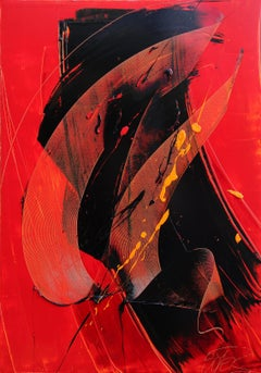Yellow, Black and Red Lyrical Abstraction Oil Painting, Untitled