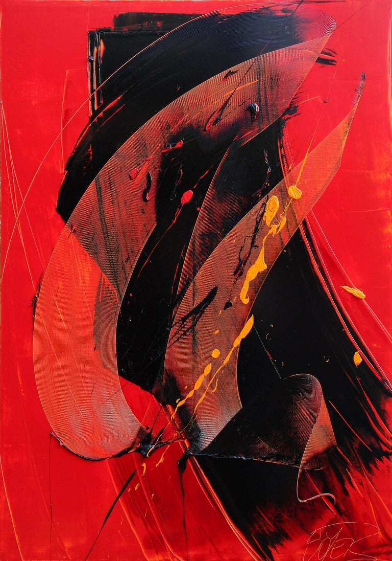 Yellow, Black and Red Lyrical Abstraction Oil Painting, Untitled 1