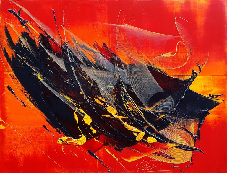 Yellow and Black on Red Lyrical Abstraction Oil Painting, Untitled 1