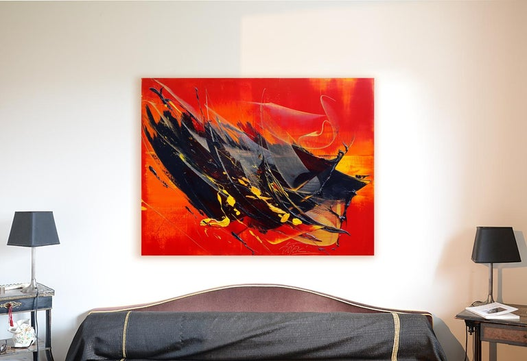 Yellow and Black on Red Lyrical Abstraction Oil Painting, Untitled 2