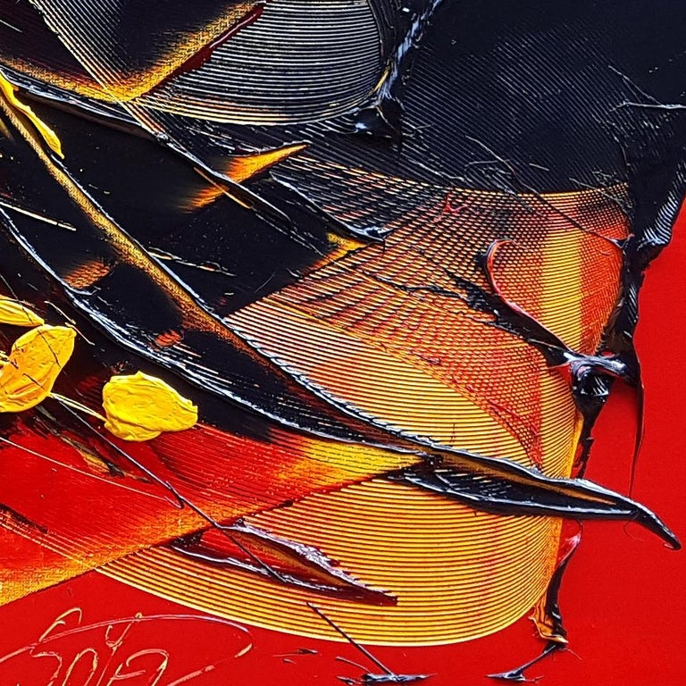Yellow and Black on Red Lyrical Abstraction Oil Painting, Untitled 3