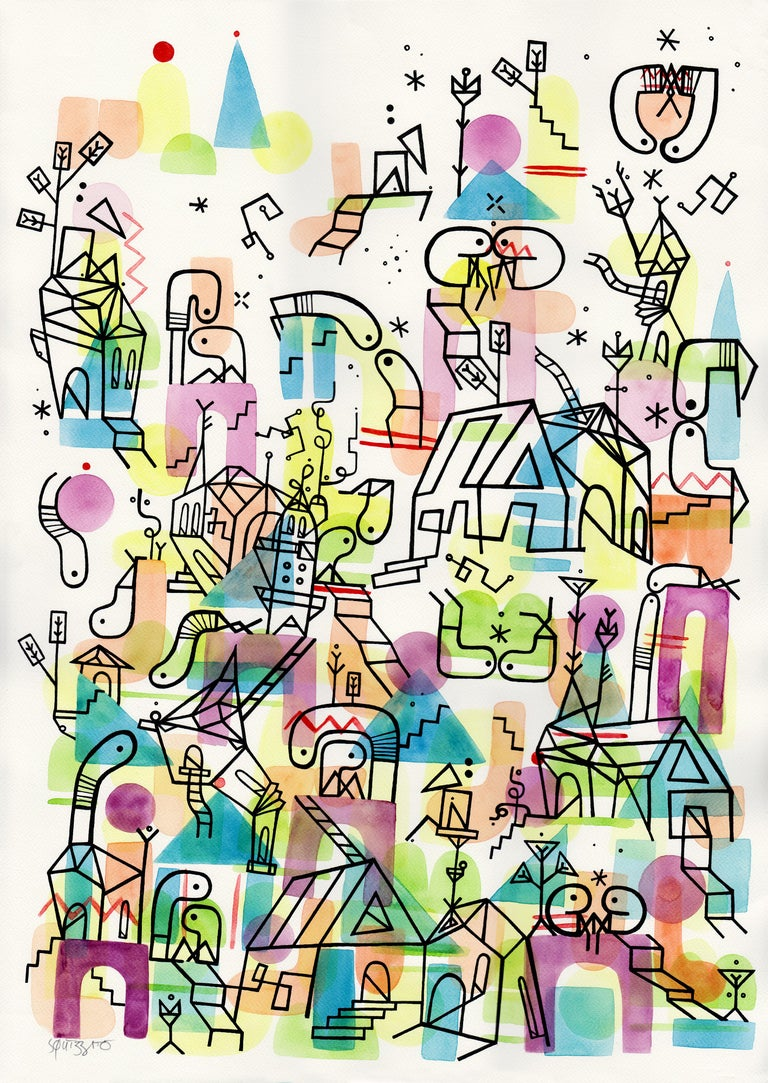 Antony Squizzato Abstract Drawing - WATCHING the Lovers, Large Watercolors and Ink