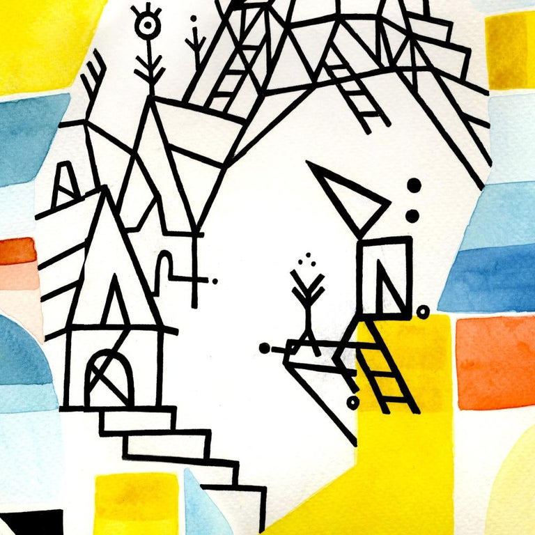 Once Upon a Valley, Large Blue, Yellow, Red and Black Watercolors and Ink - Constructivist Art by Antony Squizzato