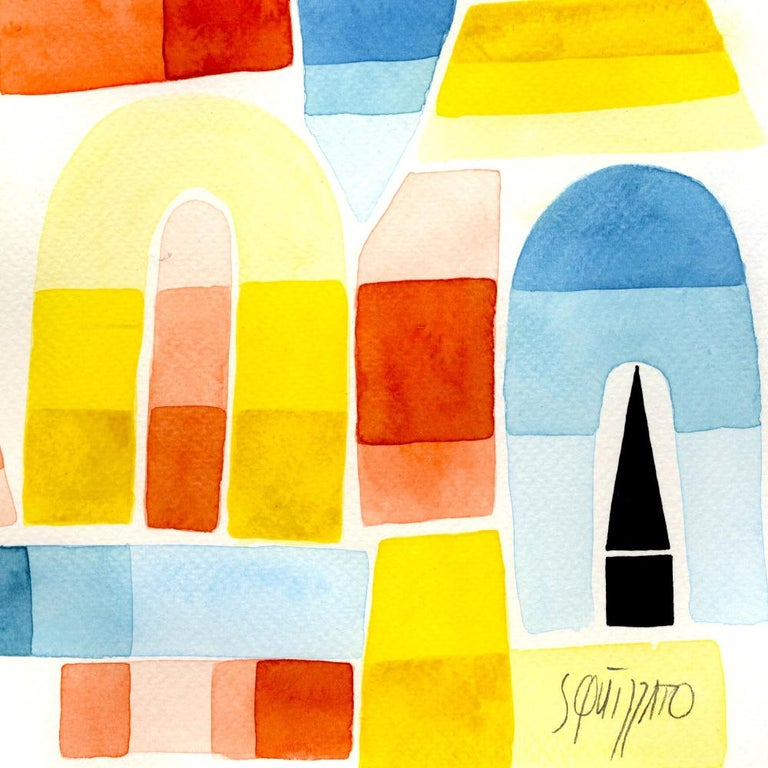 Once Upon a Valley, Large Blue, Yellow, Red and Black Watercolors and Ink For Sale 1
