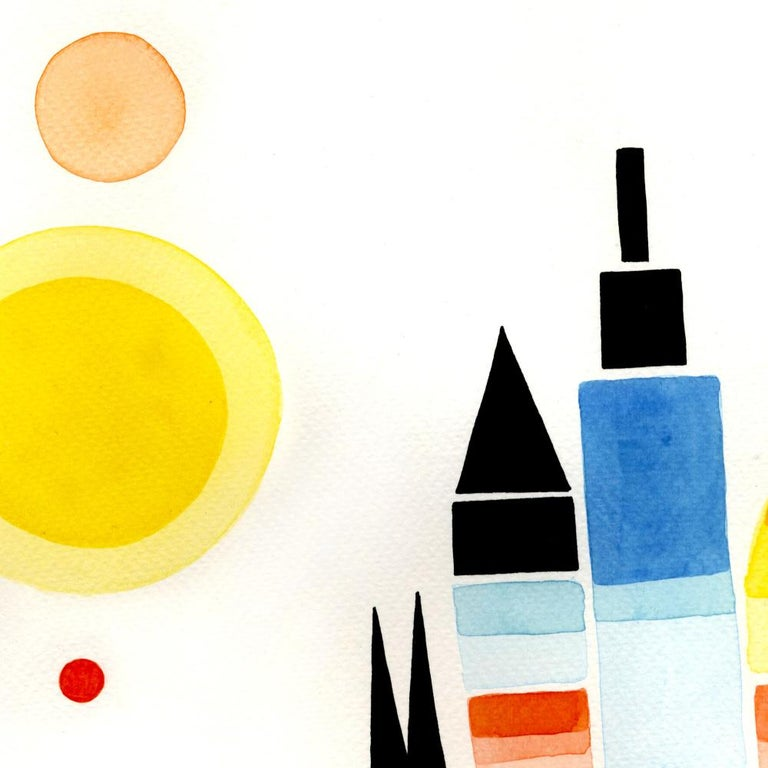 Once Upon a Valley, Large Blue, Yellow, Red and Black Watercolors and Ink For Sale 2