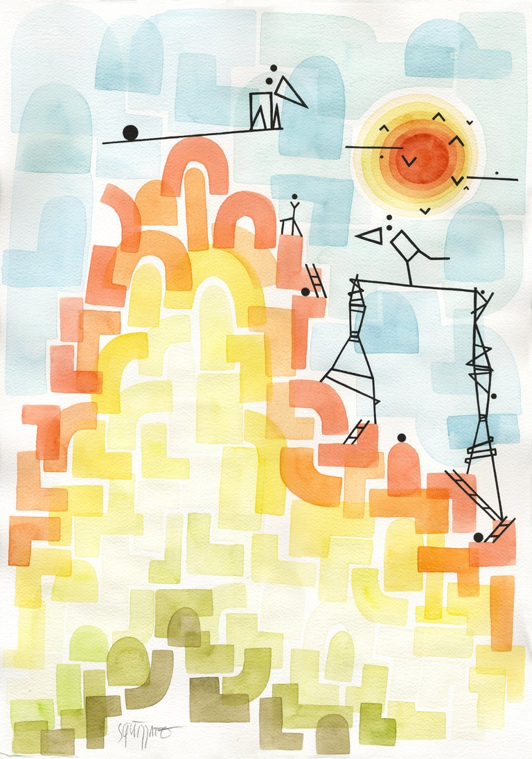 Antony Squizzato Abstract Drawing - Swing Hill, Large Rainbow Watercolors and Ink