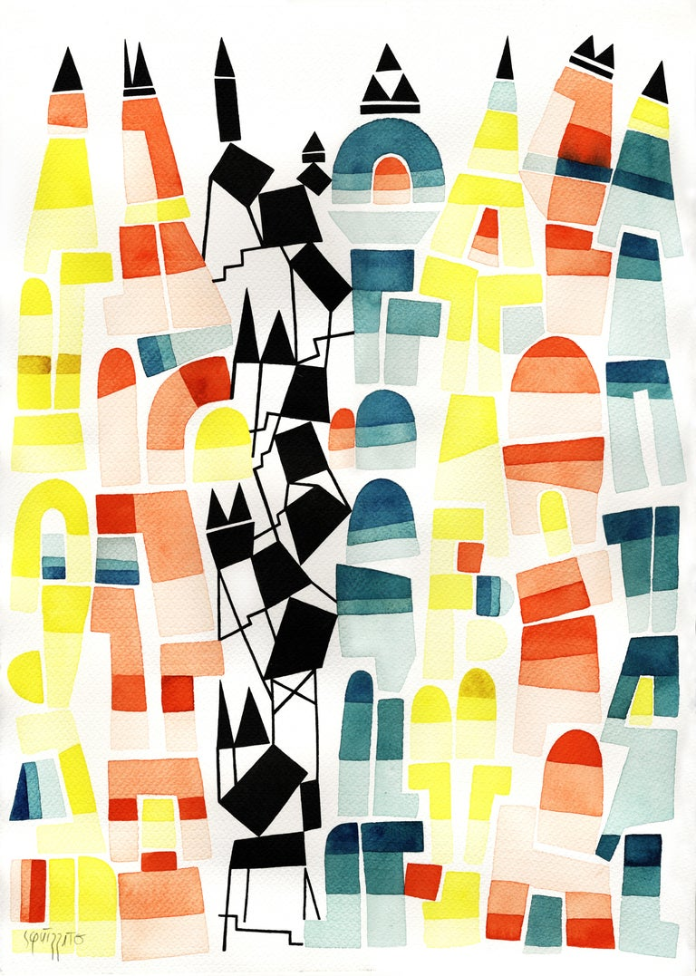 Antony Squizzato Abstract Drawing - Verticall, Large Blue, Yellow, Red and Black Watercolors and Ink