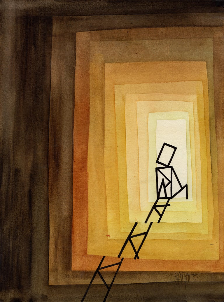 "Antony Squizzato Figurative Art - ""Step By Step"", Yellow Brown Shades Watercolors and Ink Man with Ladders"