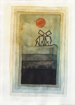 """""""Nothing to Say"""", Green Brown Shades Watercolors and Ink with Red Sun"""