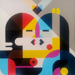"""Nose to nose"", Neue Constructivist Multicolored Acrylic Painting"