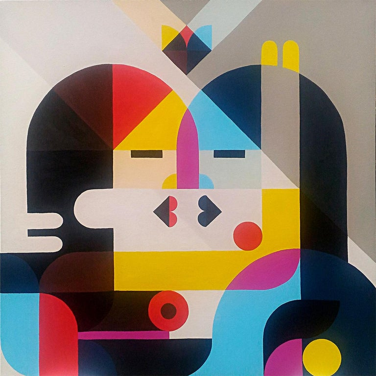 """Nose to nose"", Neue Constructivist Multicolored Acrylic Painting 1"