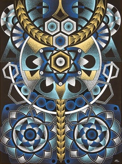 """Lepis"", Yellow, Cyan, White and Blue Acrylic Geometric Dotwork on Black Canvas"