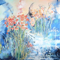 """Angel's Garden"", Colorful Abstract Landscape Squared Oil Painting"