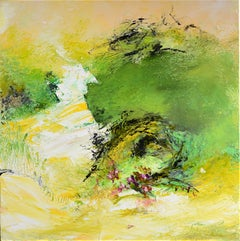 """Giverny"", Yellow and Green Abstract Landscape Squared Oil Painting"