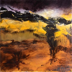 """Shadow and Light #2 (""""Ombre et Lumière""""), Black and Orange-Brown Oil Painting"""