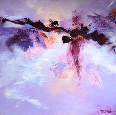 "The Woman (""La femme""), Large Purple Abstract Squared Oil Painting"