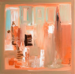 """Studio n° 1"",Light Brown and Orange Red Abstract Interior Squared Oil Painting"