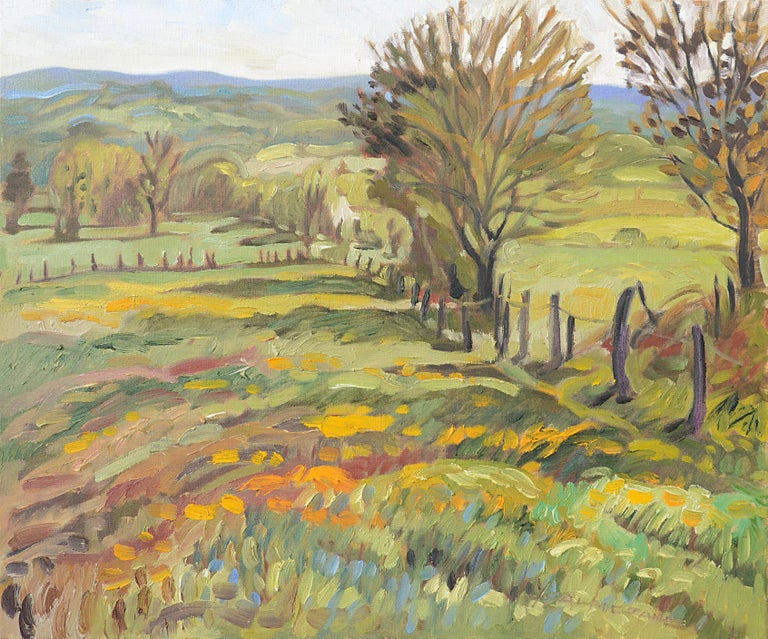 """""""Prairie Lined by a Footpath"""", Impressionist Landscape Oil Painting 1"""