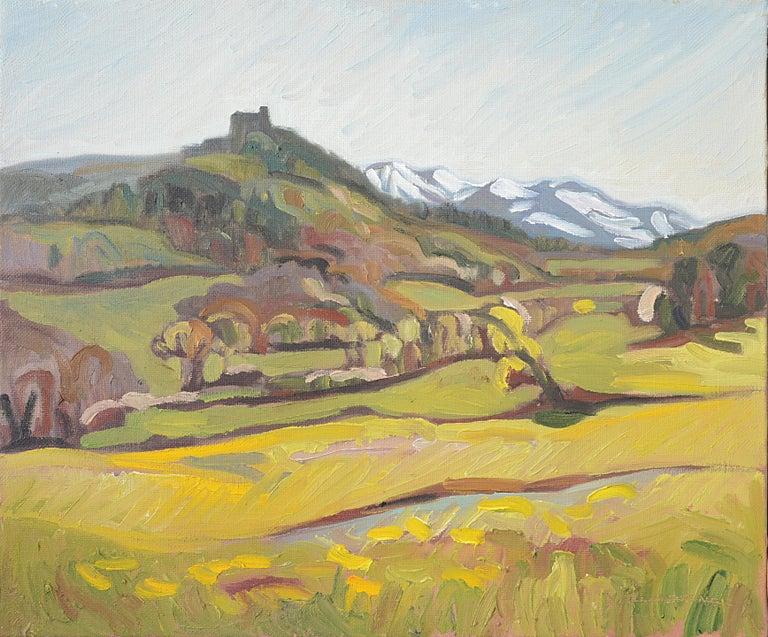 """Yves Calméjane Landscape Painting - """"Murol's Castle"""" (""""Le château de Murol""""), Impressionist Landscape Oil Painting"""