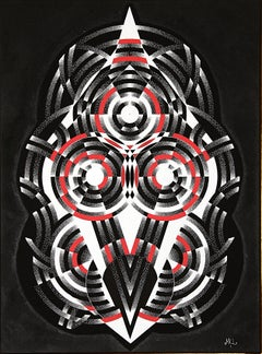 """Hypnosis"", White and Gray Acrylic Geometric Dotwork on Black Canvas"