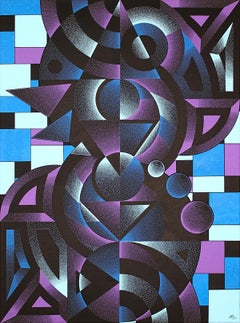 """Winter"", Cyan, Purple and Blue Acrylic Geometric Dotwork on Black Canvas"