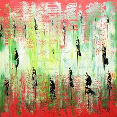 """The Poem"", Red and Green with Text and People Abstract Acrylic Landscape"