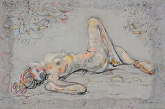 """Repos 7"", Nude Woman Laying with Leaves and Bent Knee"