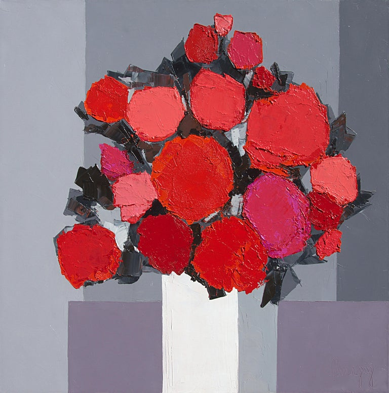 "Marcel Demagny Figurative Painting - ""Red Sparkle"" (""Éclat Rouge""), Red Bouquet on Grayscale Background Oil Painting"