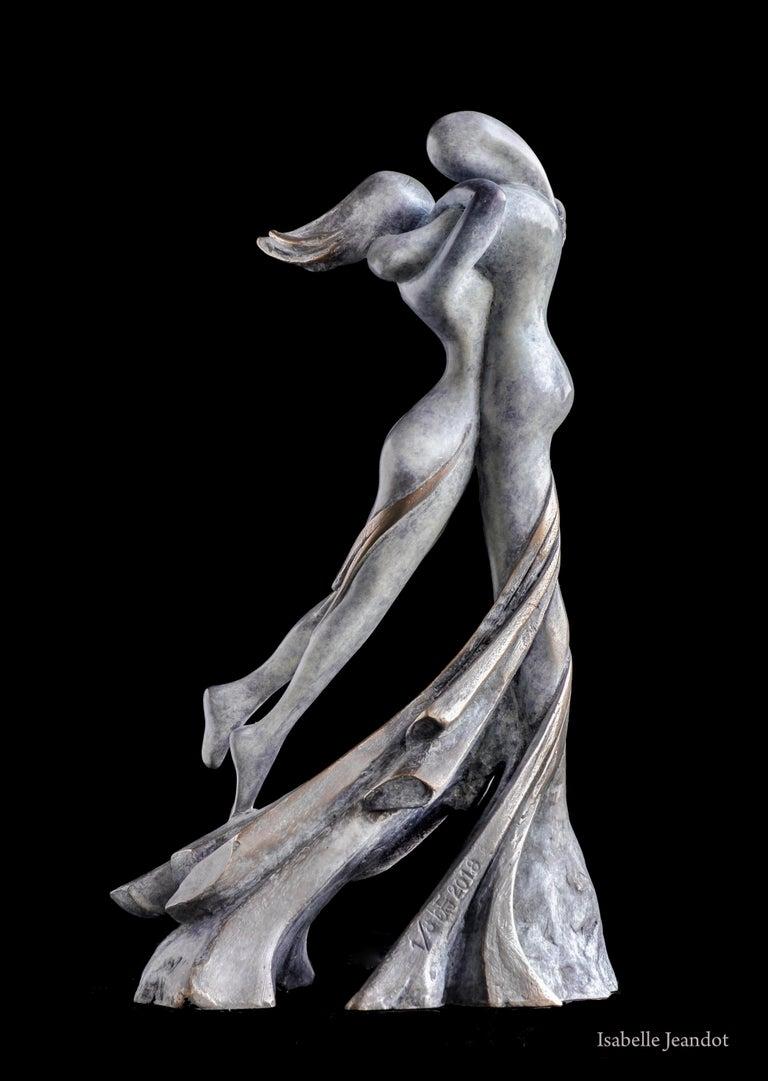 """Isabelle Jeandot Nude Sculpture - """"Euphoria"""" (""""Ivresse""""), Sensual Nude Embracing Couple Bronze Sculpture"""