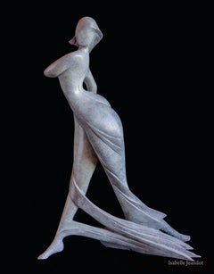 """Amazon"", Nude Walking Woman Looking on the Side Figurative Bronze Sculpture"