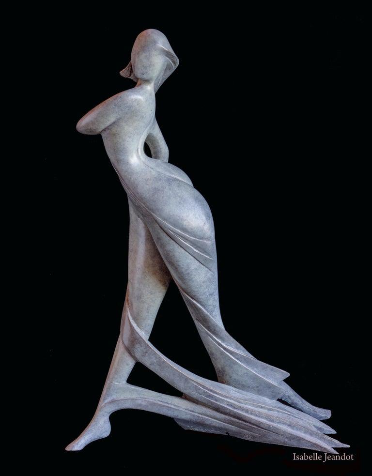"Isabelle Jeandot Nude Sculpture - ""Amazon"", Nude Walking Woman Looking on the Side Figurative Bronze Sculpture"