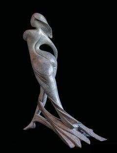"""Amazon"", Nude Walking Woman Looking on the Side Figurative Bronze Sculpture"