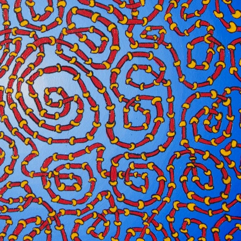 Infinite Tangled Red and Yellow Pipes on Radial Blue Gradient Oil Painting For Sale 4