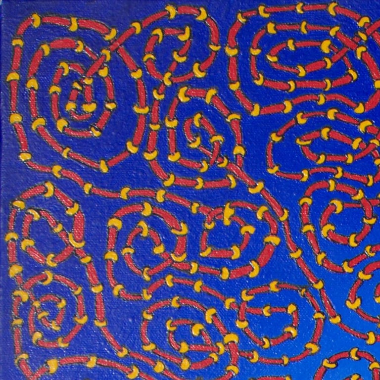 Infinite Tangled Red and Yellow Pipes on Radial Blue Gradient Oil Painting For Sale 12