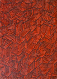 Accumulation of Red Tiled Roofs or Brick Walls Oil Painting