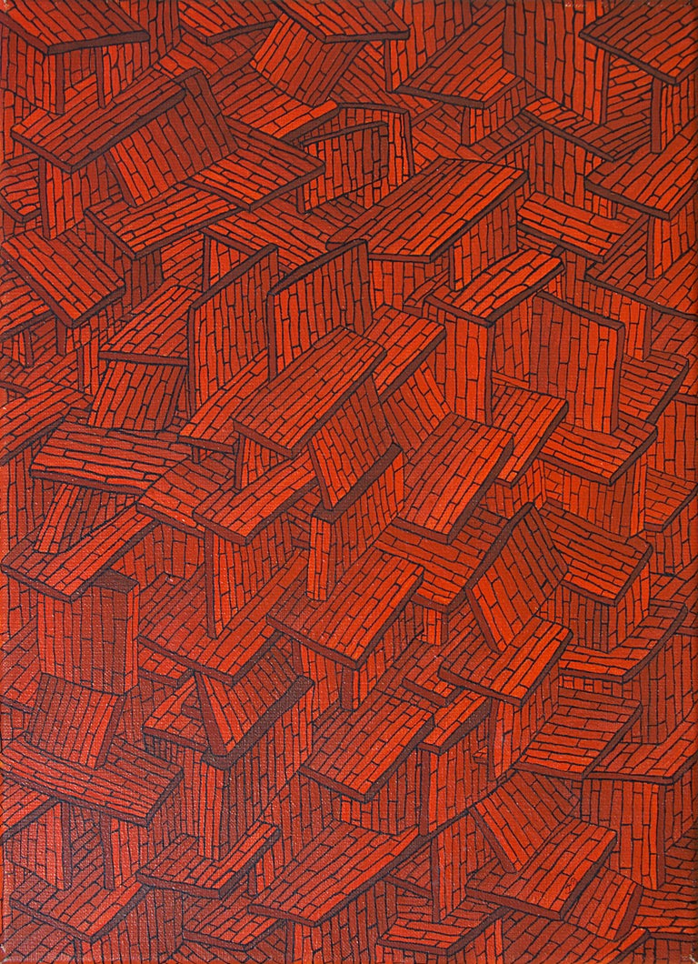 Jean-Marc Boissy Abstract Painting - Accumulation of Red Tiled Roofs or Brick Walls Oil Painting
