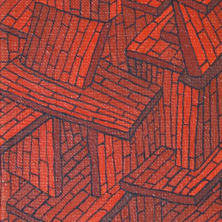 Accumulation of Red Tiled Roofs or Brick Walls Oil Painting For Sale 1