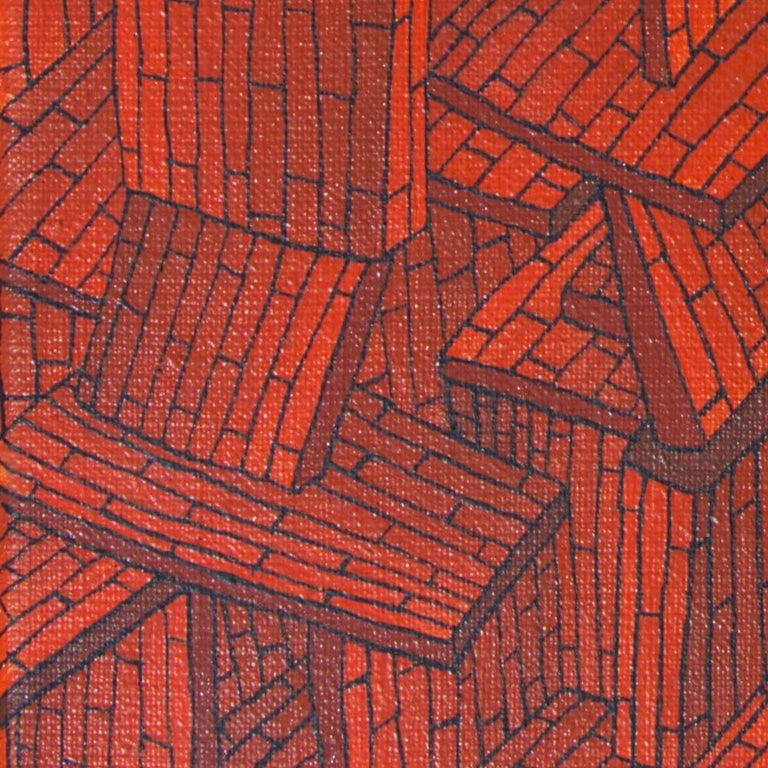 Accumulation of Red Tiled Roofs or Brick Walls Oil Painting For Sale 2
