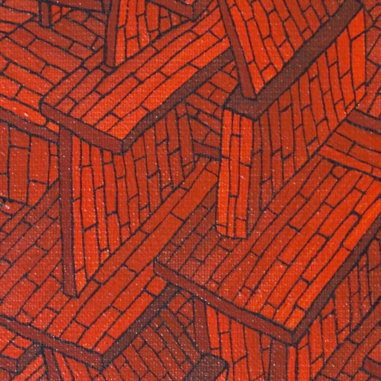 Accumulation of Red Tiled Roofs or Brick Walls Oil Painting For Sale 3