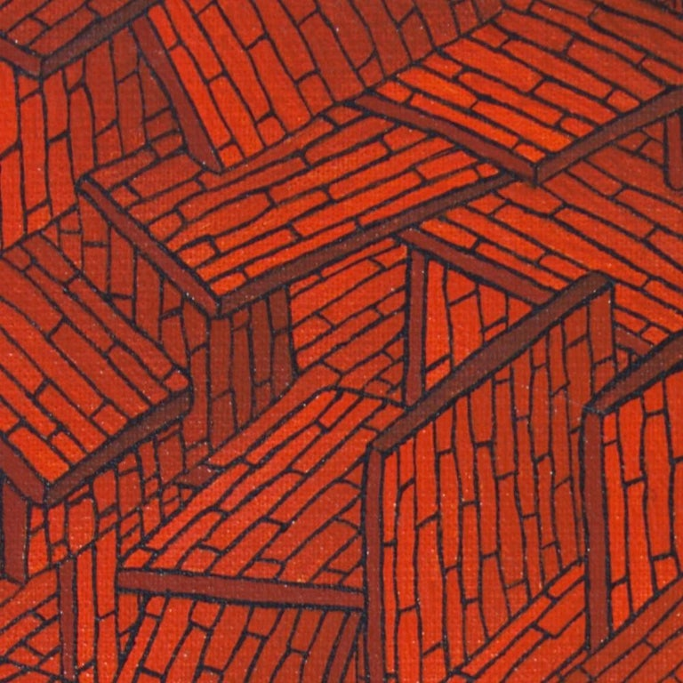 Accumulation of Red Tiled Roofs or Brick Walls Oil Painting For Sale 4